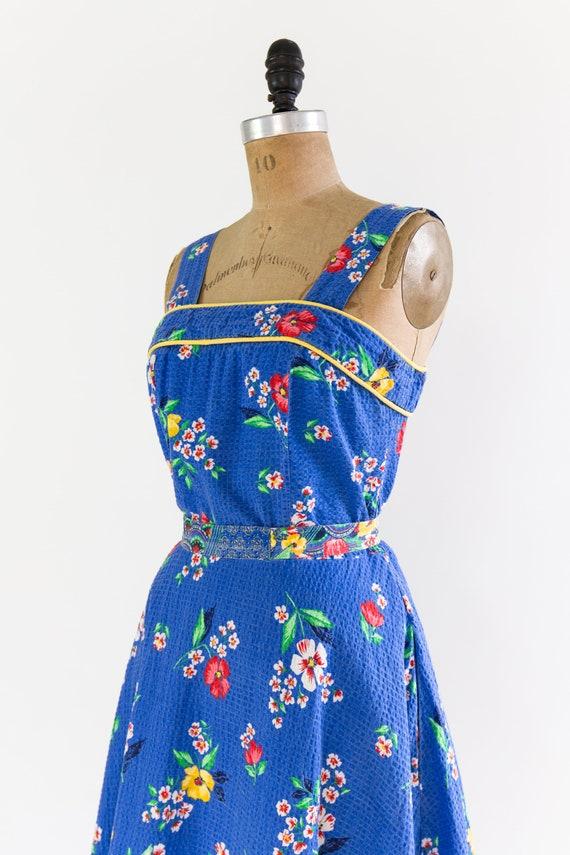vintage 1940s sundress | 40s blue floral cotton s… - image 7