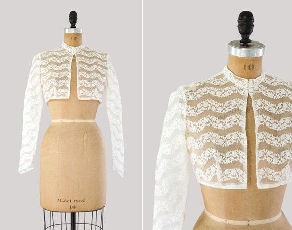 vintage 1950s bolero | long sleeve lace top | 50s wedding jacket