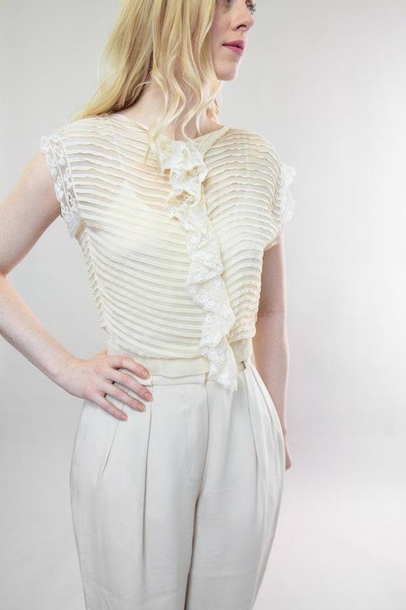 vintage 1920s blouse | antique silk chiffon crepe… - image 4