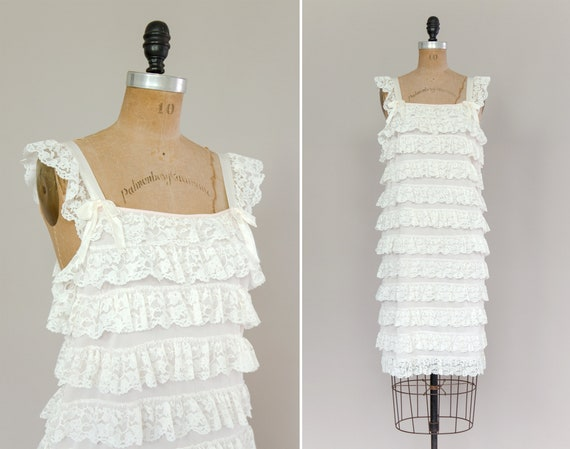 vintage 1950s slip | 50s lingerie sleepwear | pale pink ruffle slip | 1950s nightgown