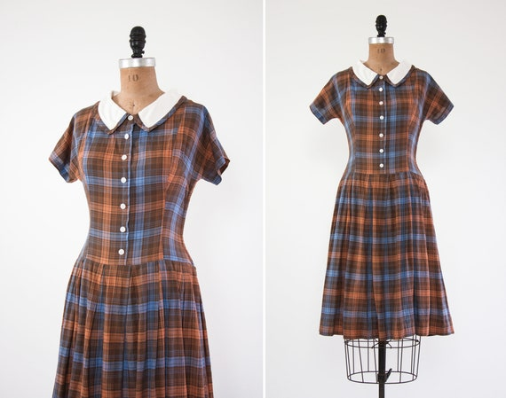 vintage 1940s shirtwaist dress | 40s day dress xs | brown plaid dress | 1940s clothing