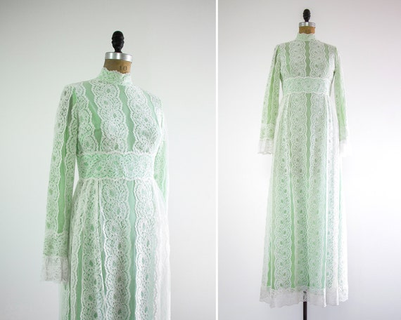 vintage 1960s couture mint green dress | 60s green wedding dress | long sleeve lace mockneck maxi dress
