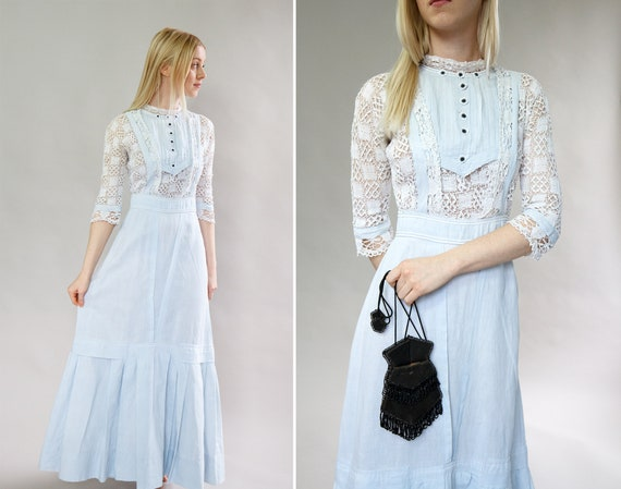 RARE vintage 1910s blue edwardian dress | 1910 tit