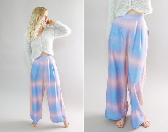 vintage 1940s loungewear | 1950s tie dye pajama pants | 40s 50s lounge pants women