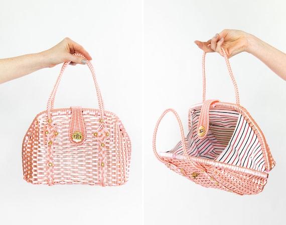 vintage basket purse | 1950s 1960s purse | 50s 60s pink wicker basket handbag