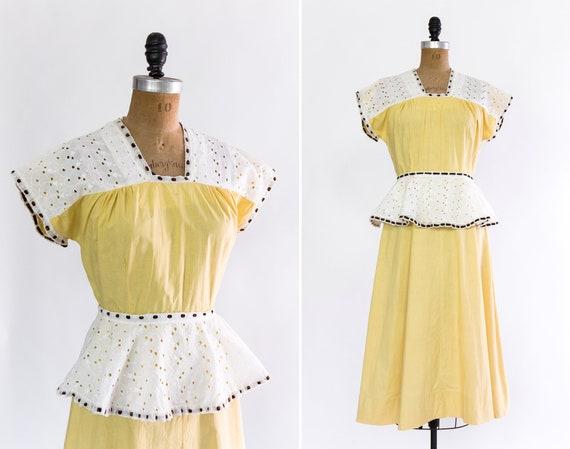 vintage 1930s day dress | yellow 30s dress | 1930s house dress | 1930s cotton eyelet dress set