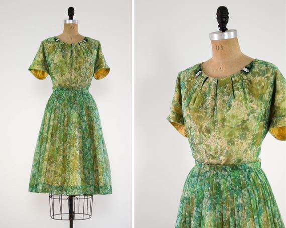 vintage 50s floral dress | 1950s day dress xl | green watercolor floral chiffon dress| 1950s party dress