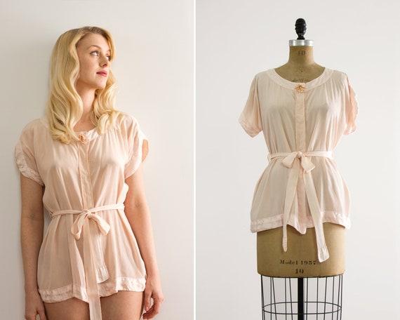 vintage 1920s silk blouse | pale pink silk shirt | 1930s vintage bed jacket | 1920s top