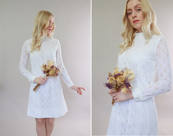vintage 1960s wedding dress | 60s white lace dress