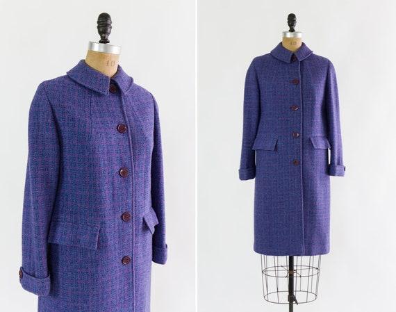 vintage 1960s Harris Tweed coat | purple wool coat | 60s virgin wool jacket