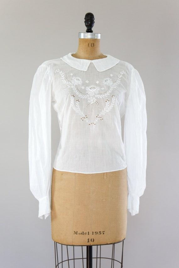 vintage Edwardian cotton blouse | antique white v… - image 2