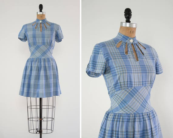 vintage blue 1950s cut out dress | plaid 50s summer dress | 1950s cotton day dress