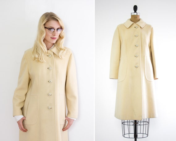 vintage cashmere coat | 1960s mod coat small | white cashmere coat | 60s jacket