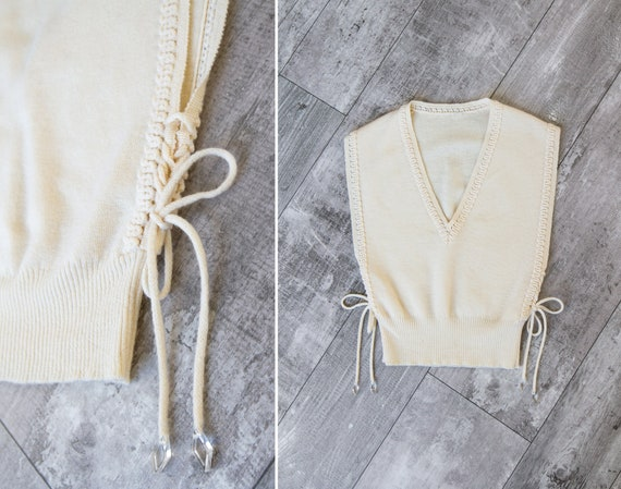 vintage 1930s knit sweater | lace up sweater vest | white 30s top