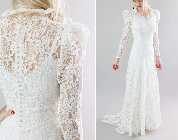 vintage 1930s wedding dress with train | 30s bias white lace wedding gown | puff leg of mutton long sleeve wedding dress