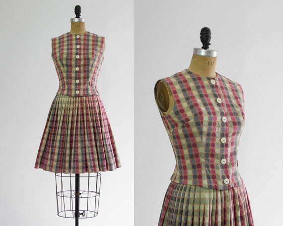 1950s dress set | 50s outfit | full circle skirt dress