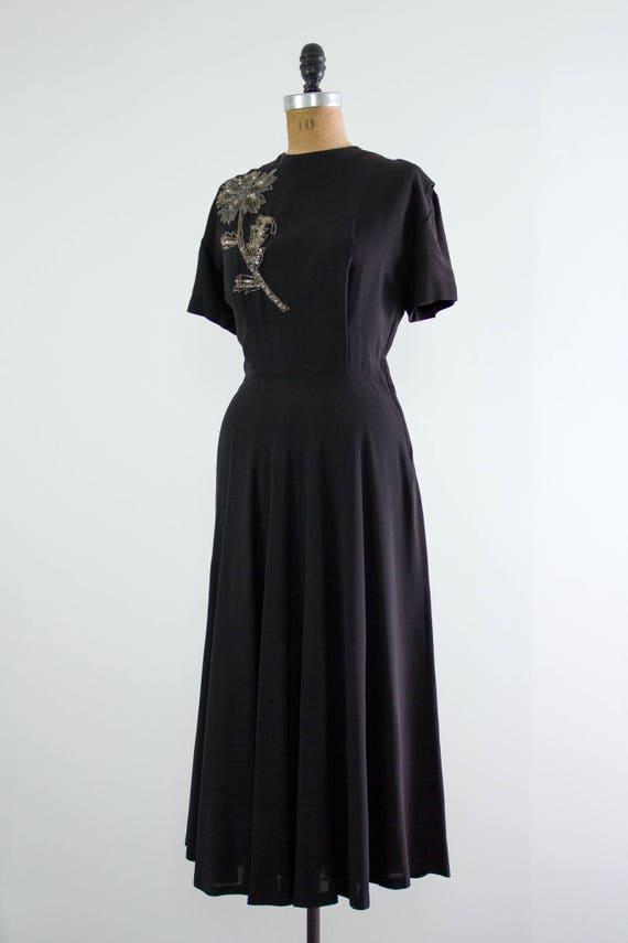 vintage 1940s rayon dress | 40s black dress | 194… - image 3