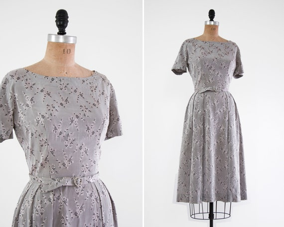 vintage 1950s floral dress | grey 50s day dress | vintage 50s clothing