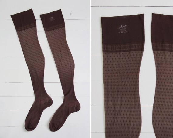 vintage sheer nylon stockings | Hanes diamond stockings | 1960s brown tights | 60s panty hose