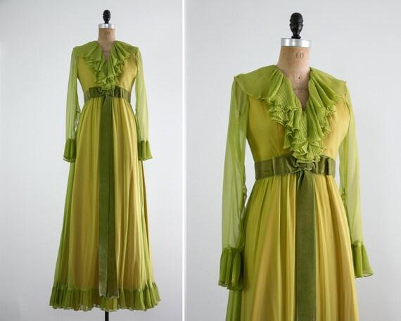 vintage 1960s green dress | 60s chiffon dress | 1960s evening gown | 60s long sleeve dress