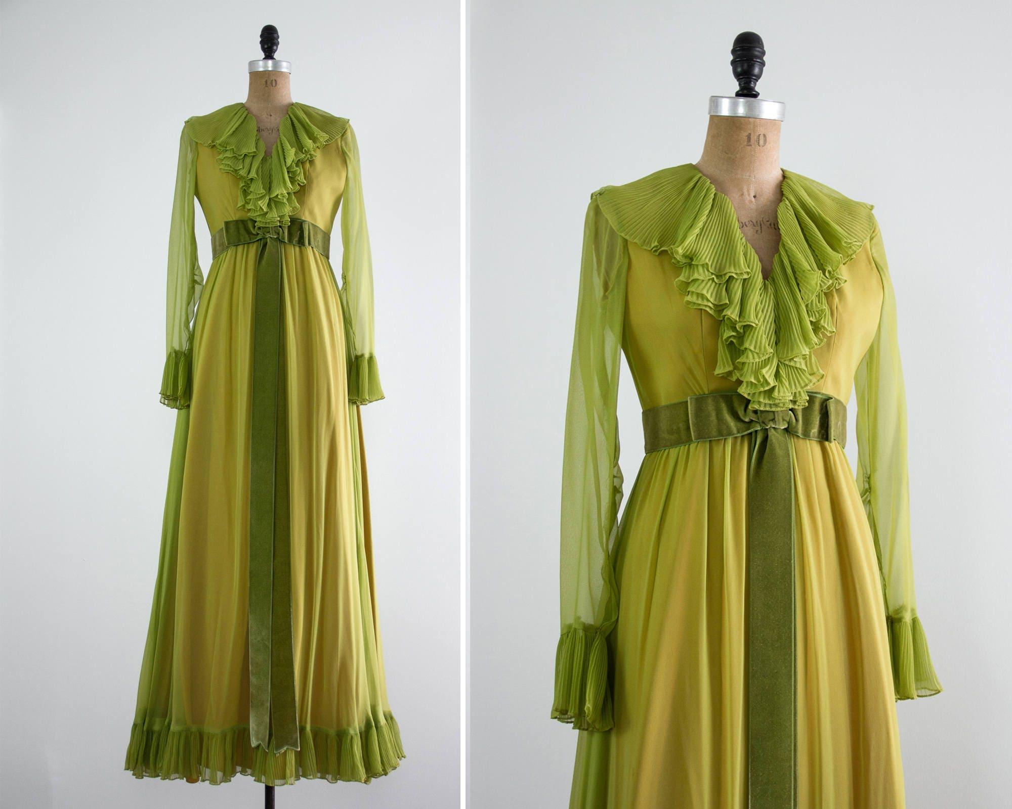 Vintage 1960er Jahre grüne Kleid 60er Jahre chiffon-Kleid