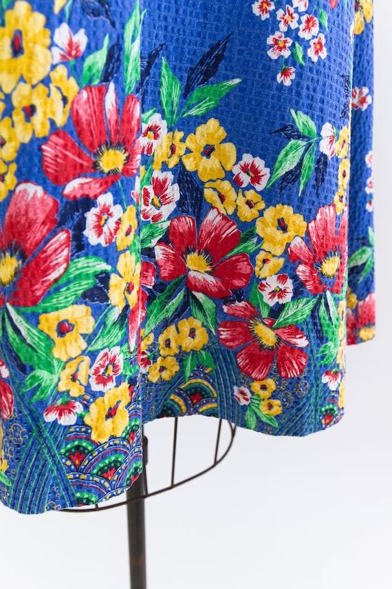 vintage 1940s sundress | 40s blue floral cotton s… - image 9
