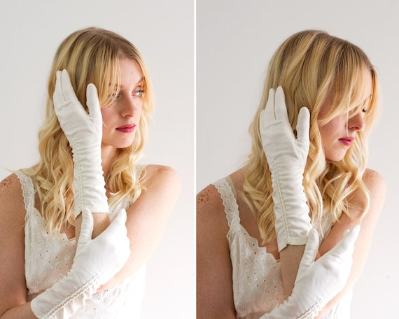vintage 1950s gloves | 50s bridal gloves | white vintage gloves | wedding gloves