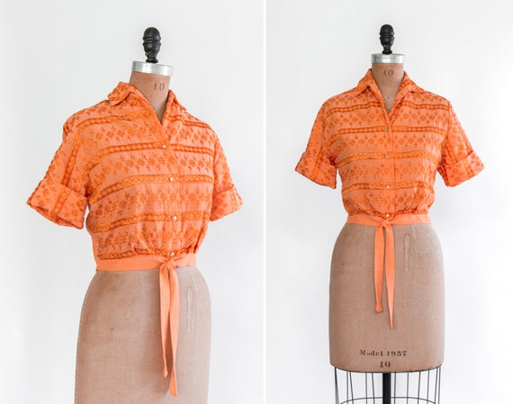 vintage tie front 50s crop top | orange cotton button down shirt | embroidered 1950s blouse