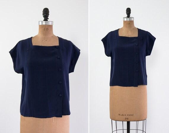 vintage 90s silk shirt | petite navy silk top | bo