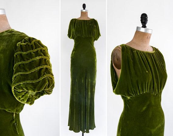 vintage 1930s silk velvet dress | puff sleeve bolero | 30s gown | 1930s bias cut dress