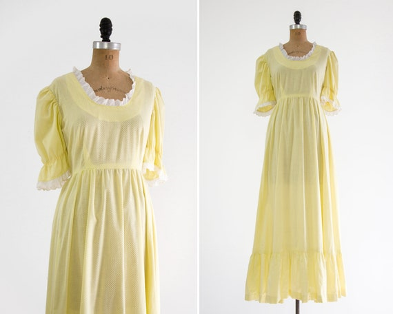 vintage 1970s maxi dress | pale yellow 70s dress | 1970s boho peasant dress