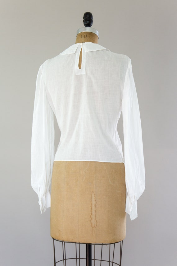 vintage Edwardian cotton blouse | antique white v… - image 5