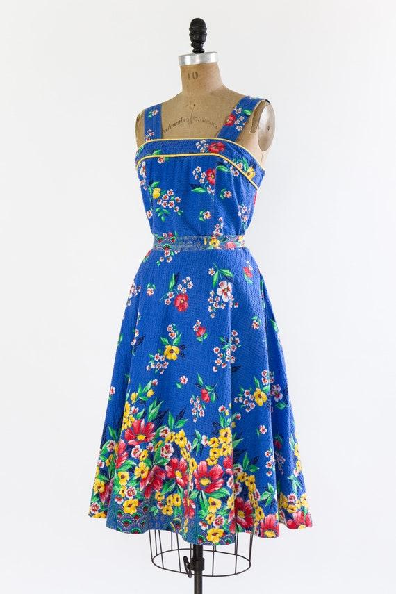 vintage 1940s sundress | 40s blue floral cotton s… - image 2