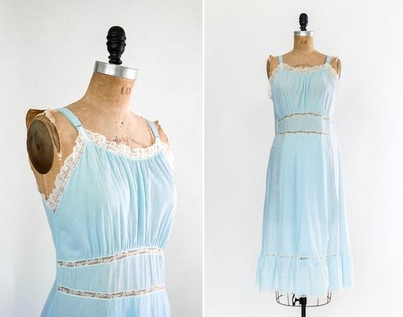 vintage pale blue 1950s slip | 50s lingerie | light blue cotton slip | 1950s nightgown sleepwear