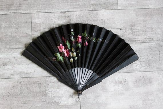antique 1800s Victorian fan | 1880s hand fan | black silk hand painted fan