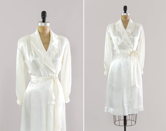 vintage 1940s dress | 40s wrap dress | Old Hollywood robe | white liquid satin dressing gown