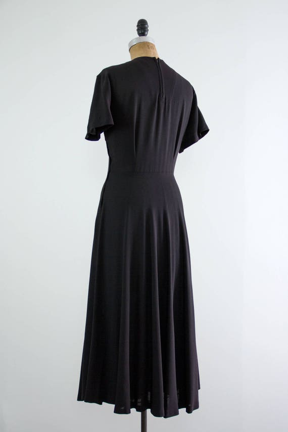 vintage 1940s rayon dress | 40s black dress | 194… - image 6