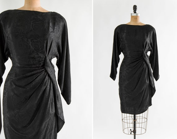 vintage 1940s style dress | 1980s black silk sarong dress | 80s does 40s cocktail party dress