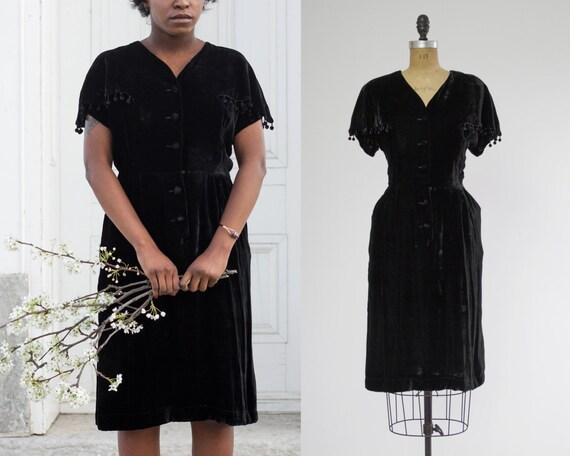 1930s black velvet dress by Gloria Swanson | 1930s evening dress