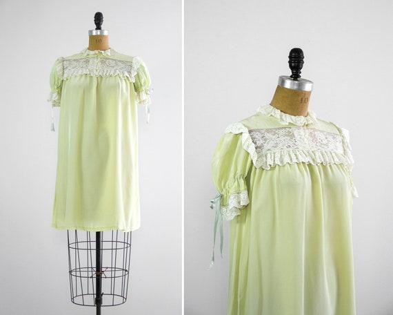 vintage 1950s green nightgown | 1950s nightwear | 50s pajamas | vintage night dress