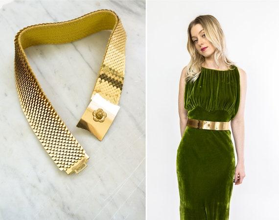 vintage 1970s belt | gold metal belt | waist cincher belt | 70s gold stretch belt