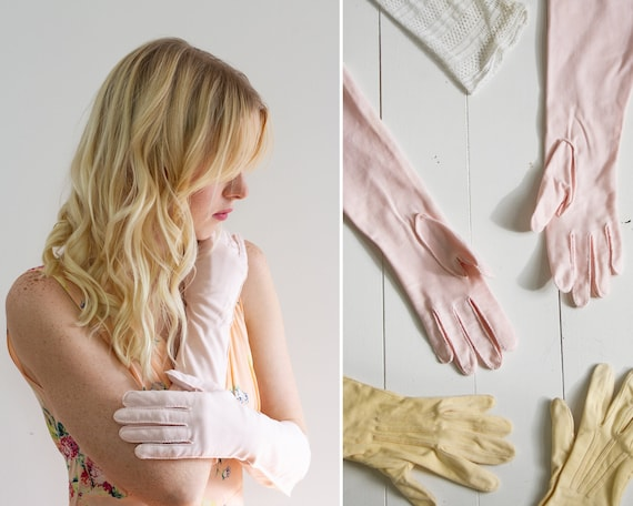 vintage 1950s gloves | pink gloves | long formal gloves | vintage gloves women