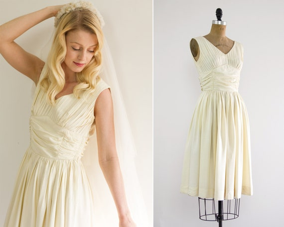 vintage 1950s wedding dress short | 50s ivory wedding dress | vintage white dress