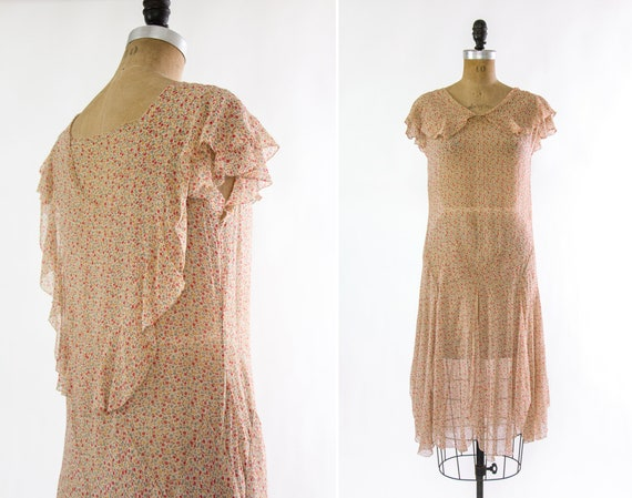 vintage 1920s dress | 20s floral silk chiffon dropwaist dress | antique 1920s flapper day dress