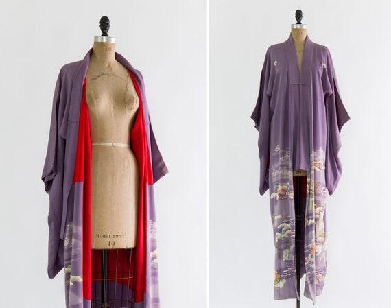 vintage 1920s kimono robe | purple silk taisho kimono | antique 20s iro tomesode