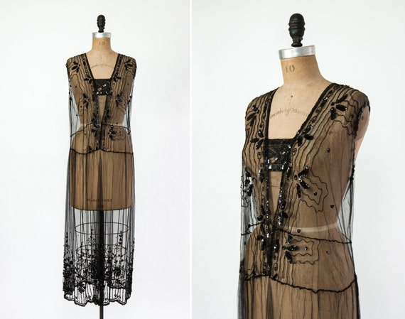 vintage 1920s beaded dress | 20s gatsby flapper dress | 1920s tabard party dress