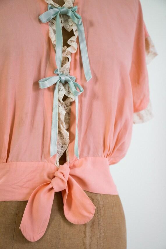 vintage 1940s bed jacket   1930s lingerie   1940s… - image 7