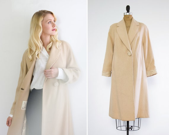 vintage 1950s tan wool coat | minimalist vintage winter coat | 50s beige coat