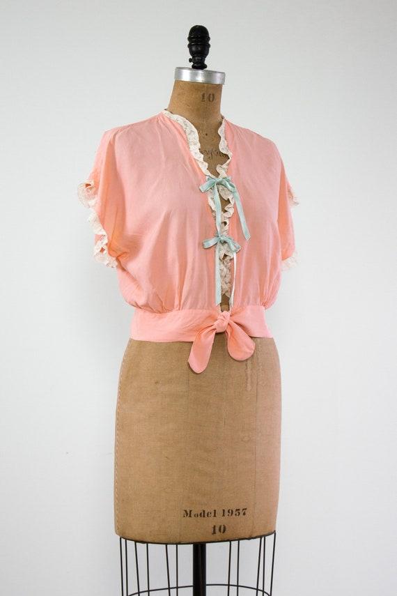 vintage 1940s bed jacket   1930s lingerie   1940s… - image 4