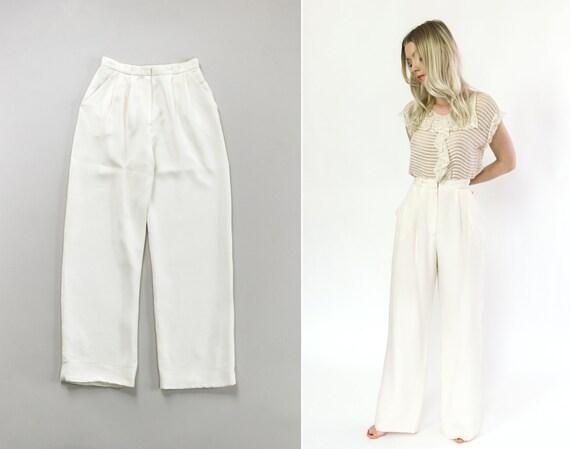 vintage white silk pants | 80s pants women | 80s pleated pants | ivory 90s trousers